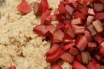 adding rhubarb to batter closeup