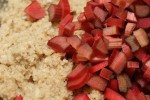 adding rhubarb to batter close up