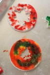 Ella's ornaments dyed with foodcoloring