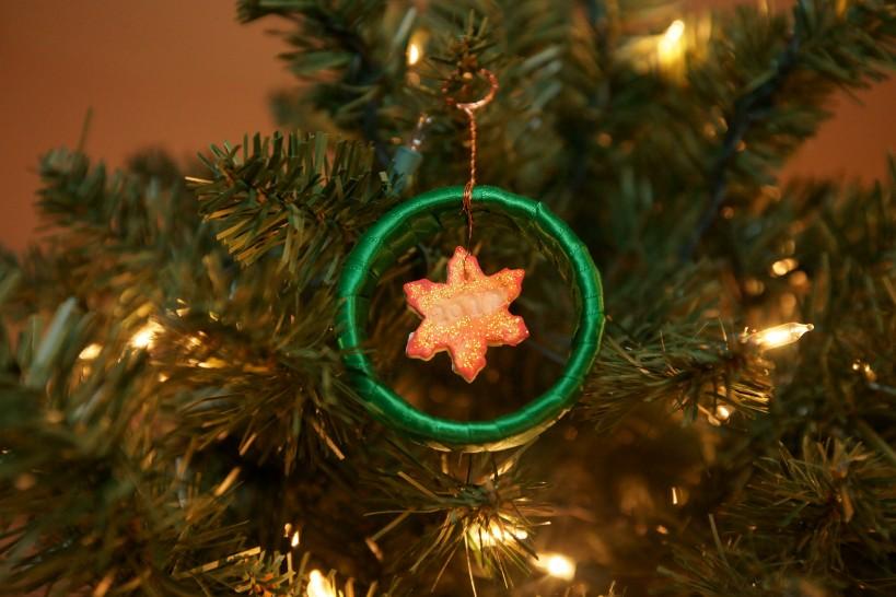 2012 snowflake ornament on tree