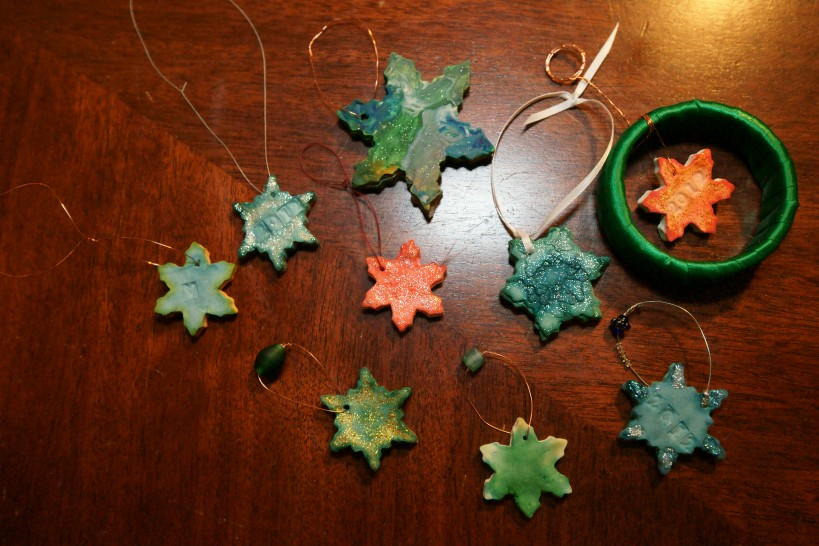 assorted homemade clay ornaments