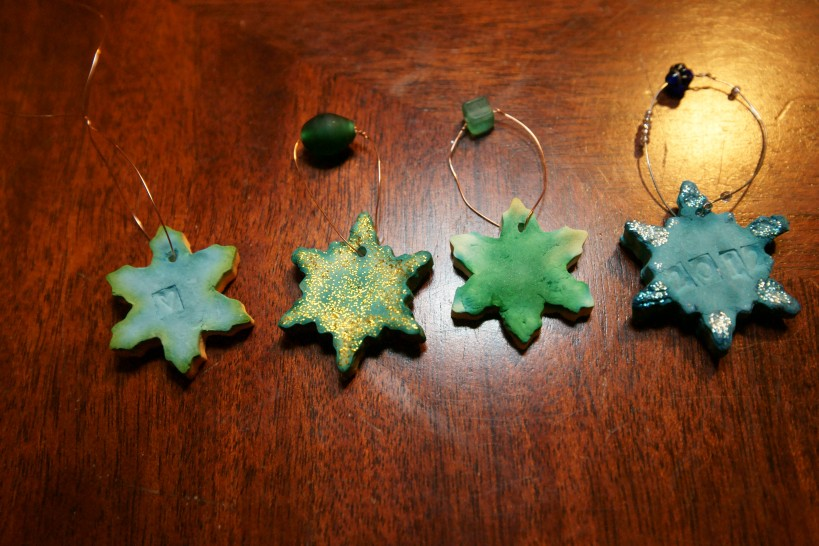 line of snowflake ornaments