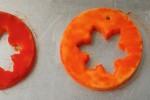 yellow and red circle ornaments snowflakecutouts